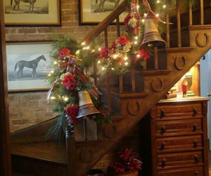christmas, decoration, and stairs image