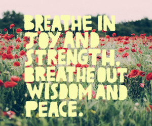 quote, breathe, and flowers image