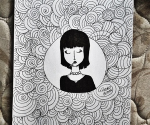 art, black and white, and book image