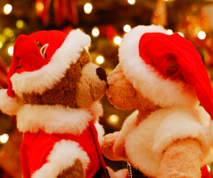 christmas, bear, and kiss image