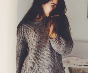 brunette, cozy, and fall image