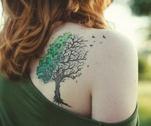 tattoo, tree, and girl image