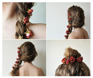 flower, hair, and red image