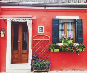 door, flowers, and house image