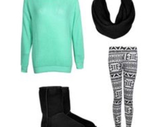 outfit, scarf, and sweater image