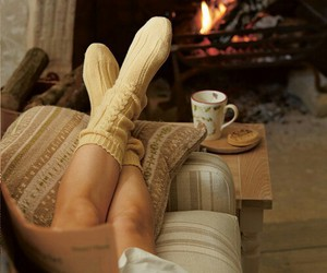 book, fire, and socks image
