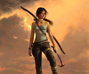 game, lara croft, and sunset image