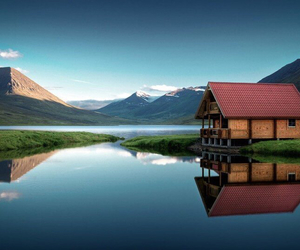 house, mountains, and iceland image