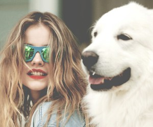 dog, barbara palvin, and model image