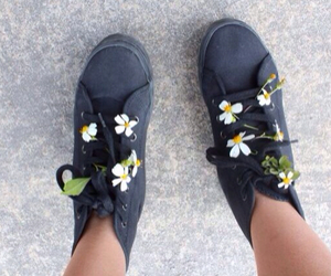flowers, shoes, and grunge image