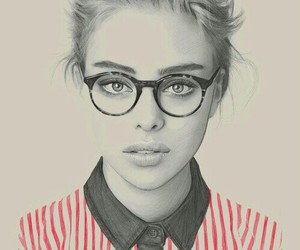 girl, glasses, and drawing image