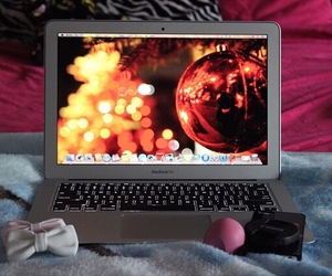 christmas, winter, and laptop image