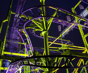 night, photography, and Roller Coaster image