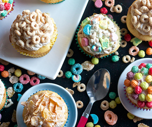 food, cupcake, and cereal image