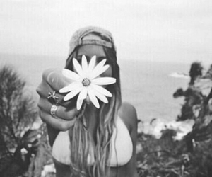 black&white, daisy, and girl image
