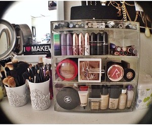 chanel, makeup storage, and cosmetics image