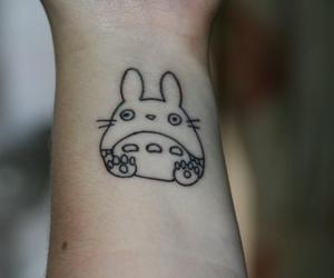 totoro, tattoo, and black and white image