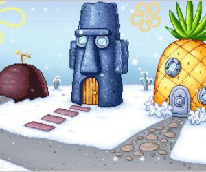 snow, spongebob, and winter image