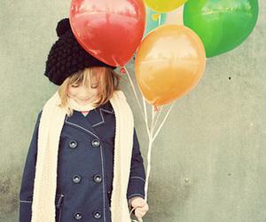 girl, balloons, and kids image