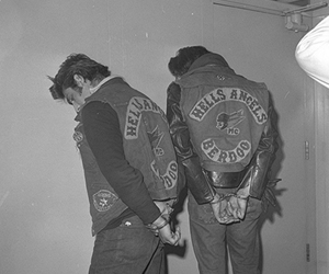 black and white, gang, and Hells Angels image
