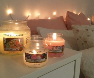 candle, light, and pillows image