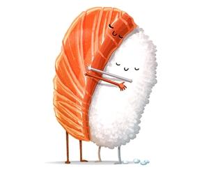 sushi, food, and hug image