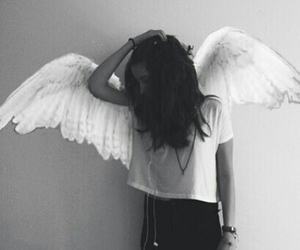 angel, beautiful, and black and white image