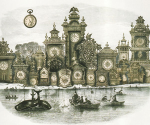 clocks, illustration, and surreal image