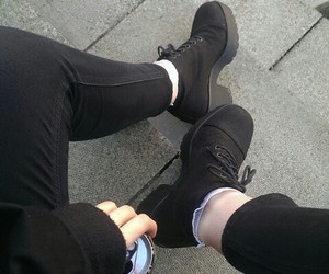 shoes, black, and pale image