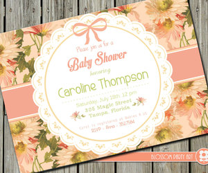 baby, floral, and invitation image