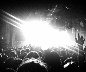 concert, black and white, and light image