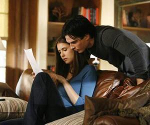 Nina Dobrev, the vampire diaries, and delena image