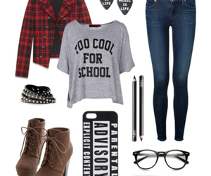 clothes, rock, and flannel image