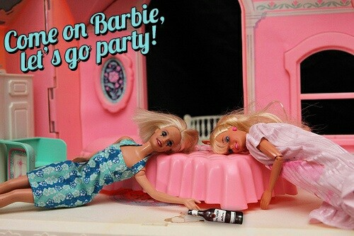 barbie, party, and drunk image