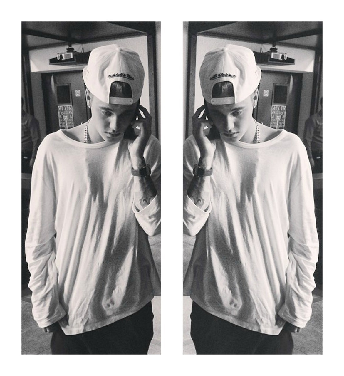 black and white and justin bieber image