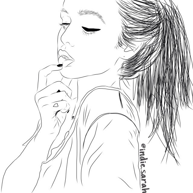 girl, outline, and art image