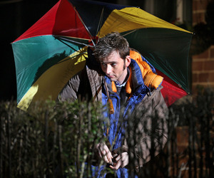 david tennant, umbrella, and the tenth doctor image