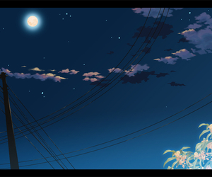 anime, clouds, and moon image
