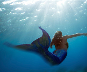 mermaid, girl, and beautiful image