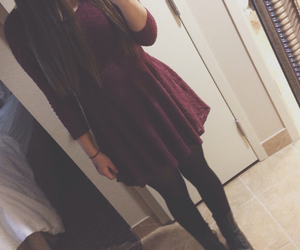 combat boots, dress, and maroon image