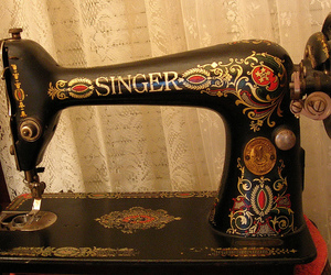 sewing, sewing machine, and vintage image