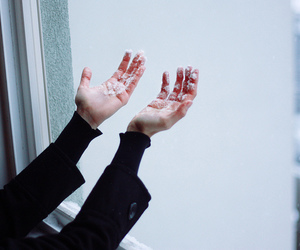 snow, hands, and winter image