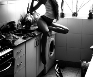 beautiful, kitchen, and girl image