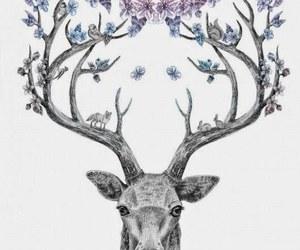 deer, flowers, and moose image