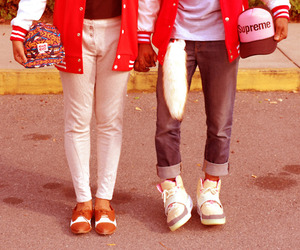 obey, varsity, and black couple image