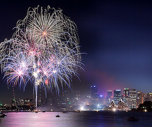 city, fireworks, and light image