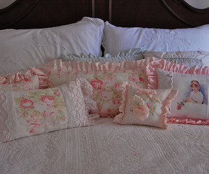 bed, pillow, and pillows image