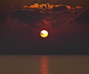 sun, sunset, and sea image