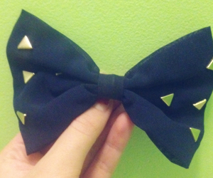 hair bow, navy, and studded image
