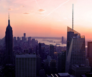 new york, skyscraper, and sunset image